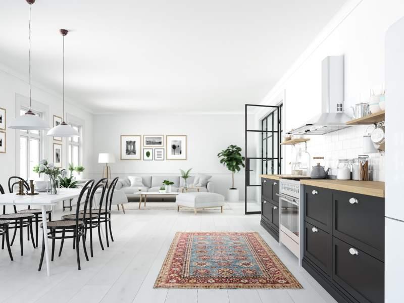 Loft intérieur blanc style scandinave