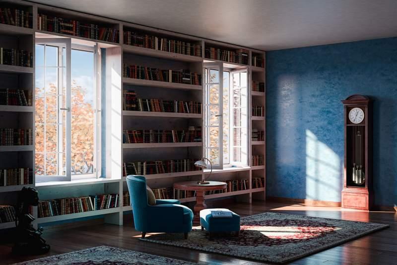 Bibliothèque avec fenêtre Oknoplast