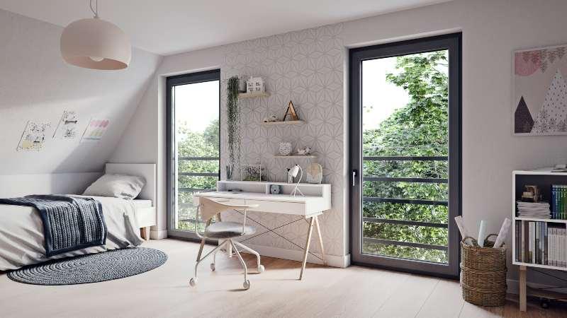 Fenêtre Prismatic Oknoplast gris graphite chambre d'enfant